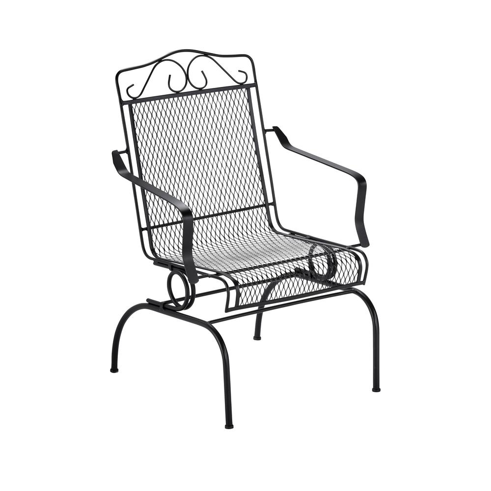 Trendy Iron Rocking Patio Chairs Regarding Hampton Bay Nantucket Rocking Metal Outdoor Dining Chair  (View 14 of 15)