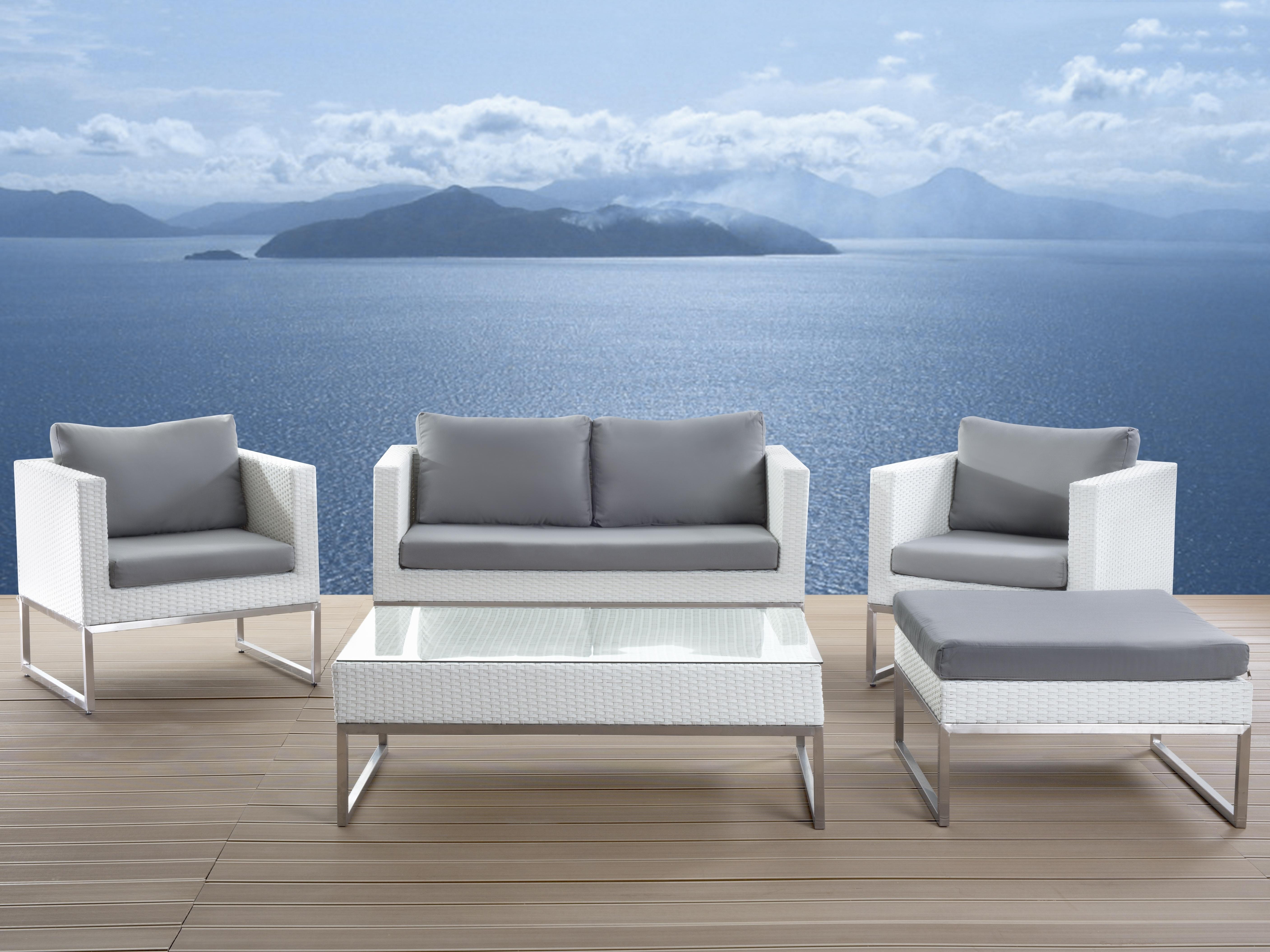 Trendy Modern Patio Conversation Sets In Patio Conversation Set White Rattan Crema Within Modern Outdoor (View 14 of 15)