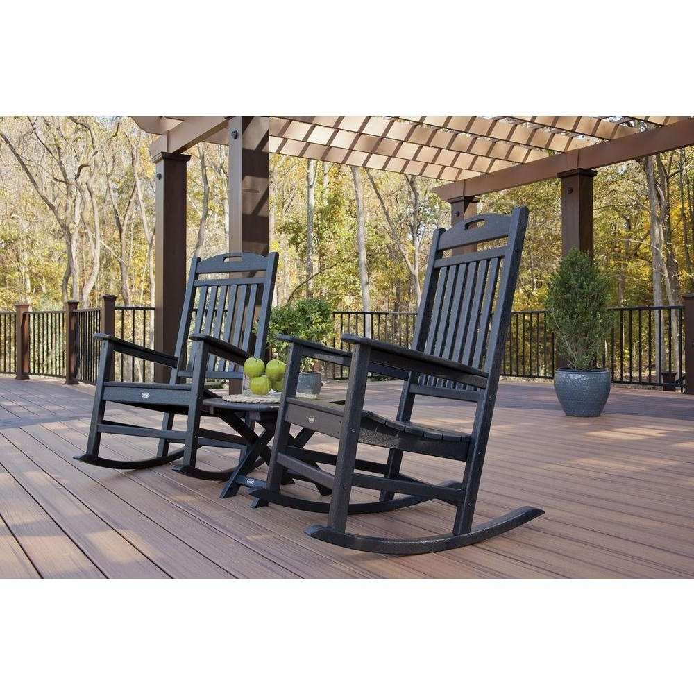 Trendy Outside Rocking Chair Sets Inside Trex Outdoor Furniture Yacht Club Charcoal Black 3 Piece Patio (View 5 of 15)