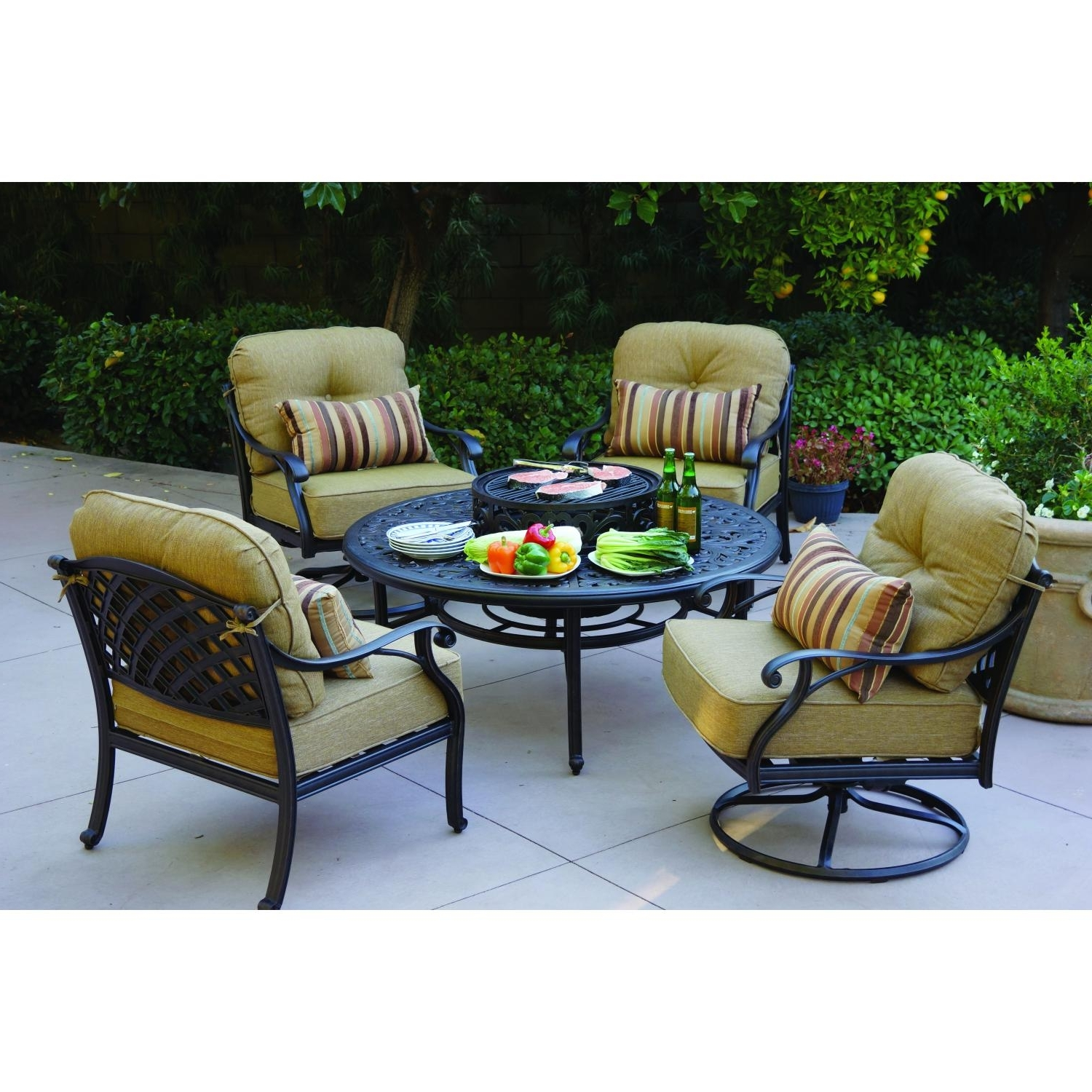 Trendy Patio Furniture Conversation Sets With Fire Pit Intended For Beautiful Round Propane Fire Pit Table And Chairs Conversation Sets (View 14 of 15)