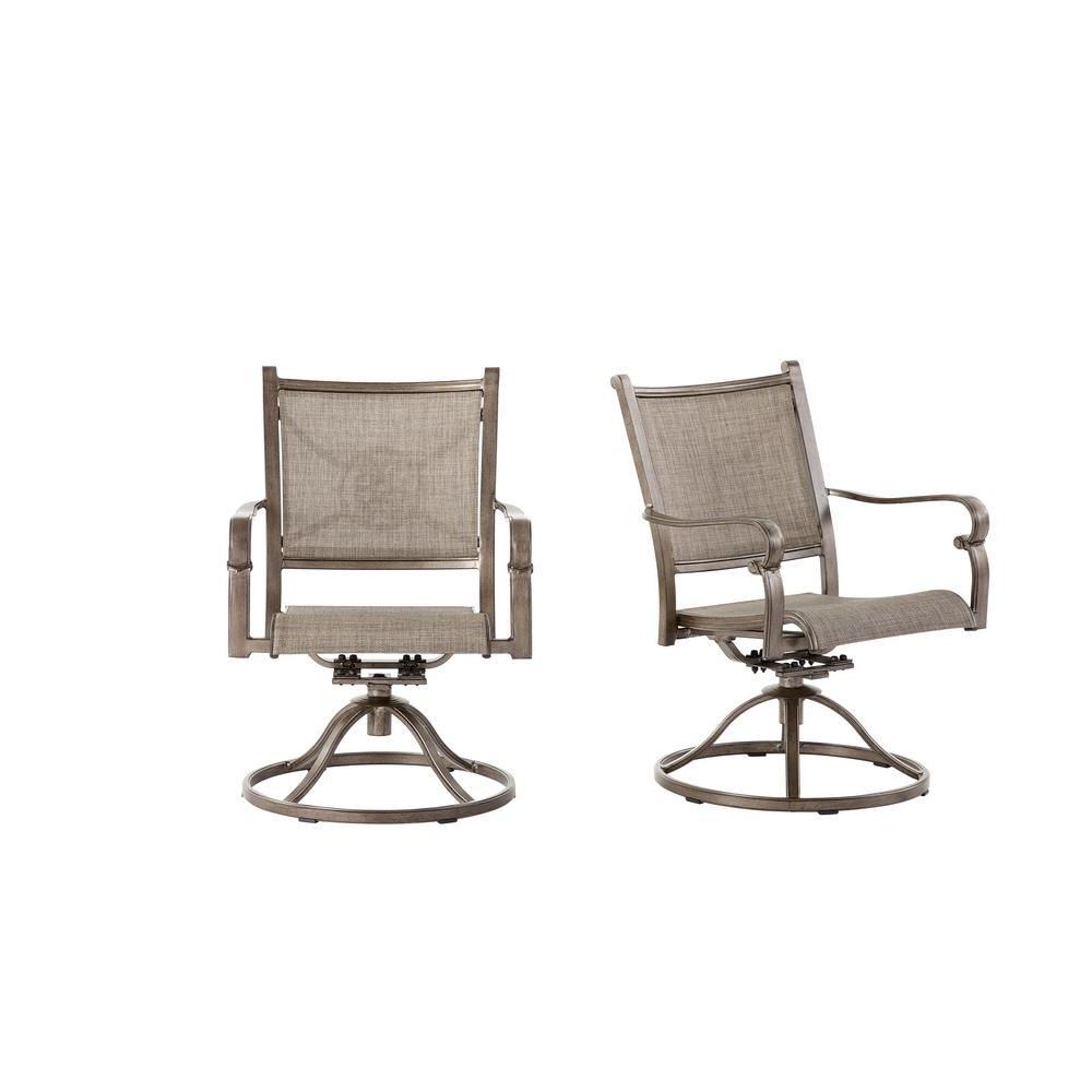 Trendy Patio Sling Rocking Chairs Within Swivel – Rocking Chairs – Patio Chairs – The Home Depot (View 8 of 15)