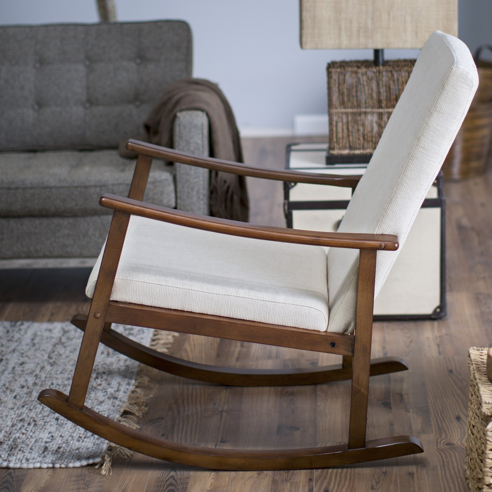 Trendy Rocking Chairs Pertaining To Belham Living Holden Modern Indoor Rocking Chair – Upholstered (View 15 of 15)