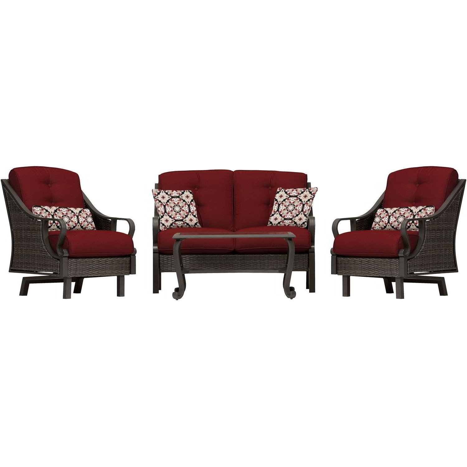 Trendy Ventura 4 Piece Seating Set In Crimson Red – Ventura4Pc Red With Regard To Wicker 4Pc Patio Conversation Sets With Navy Cushions (View 11 of 15)