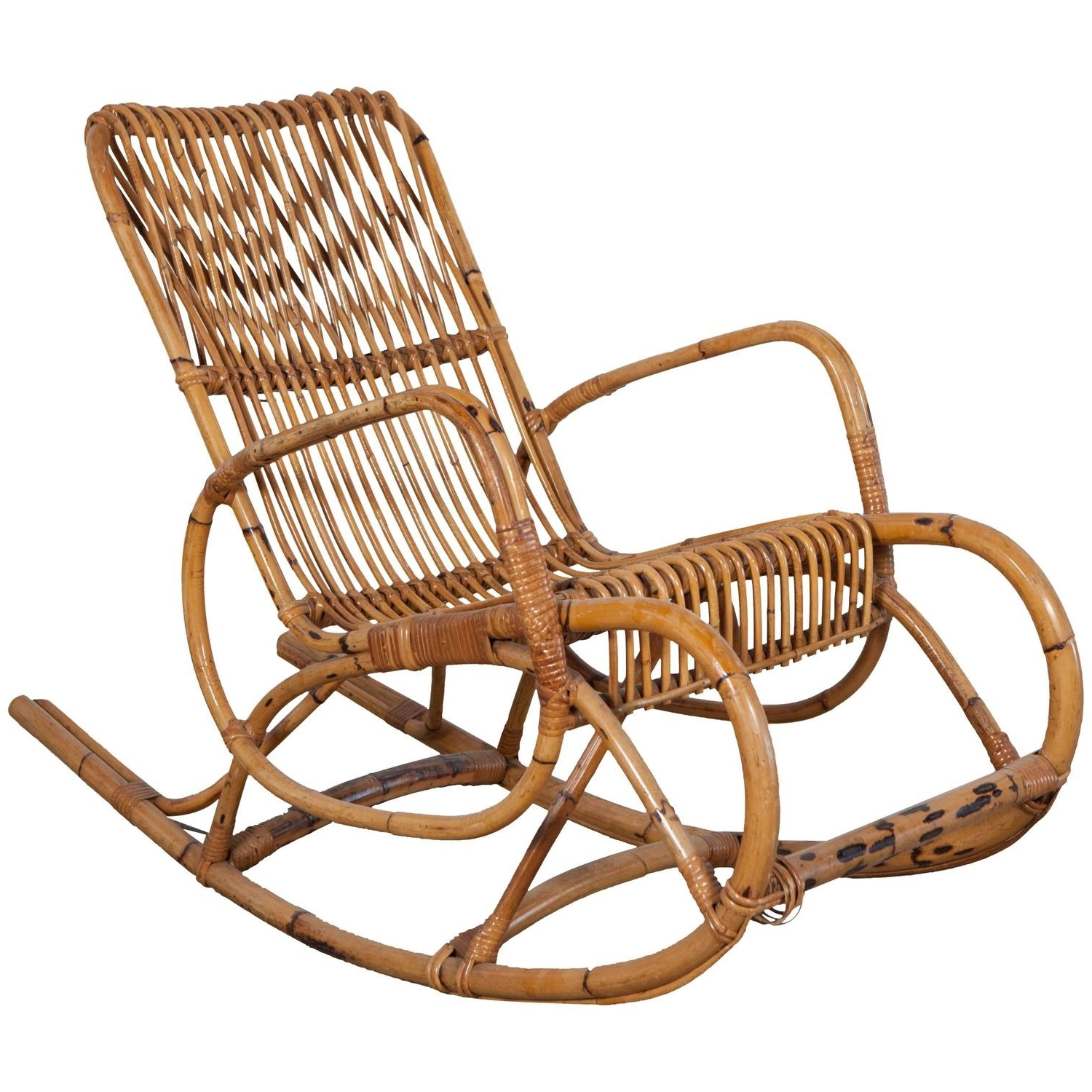Trendy Vintage Italian Bamboo Rocking Chair With Square Arms Intended For Antique Rocking Chairs (View 3 of 15)