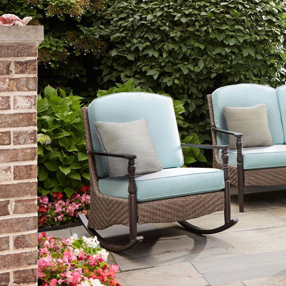 Trendy Wicker Patio Furniture – Rocking Chairs – Patio Chairs – The Home Depot Intended For Wicker Rocking Chairs For Outdoors (View 12 of 15)