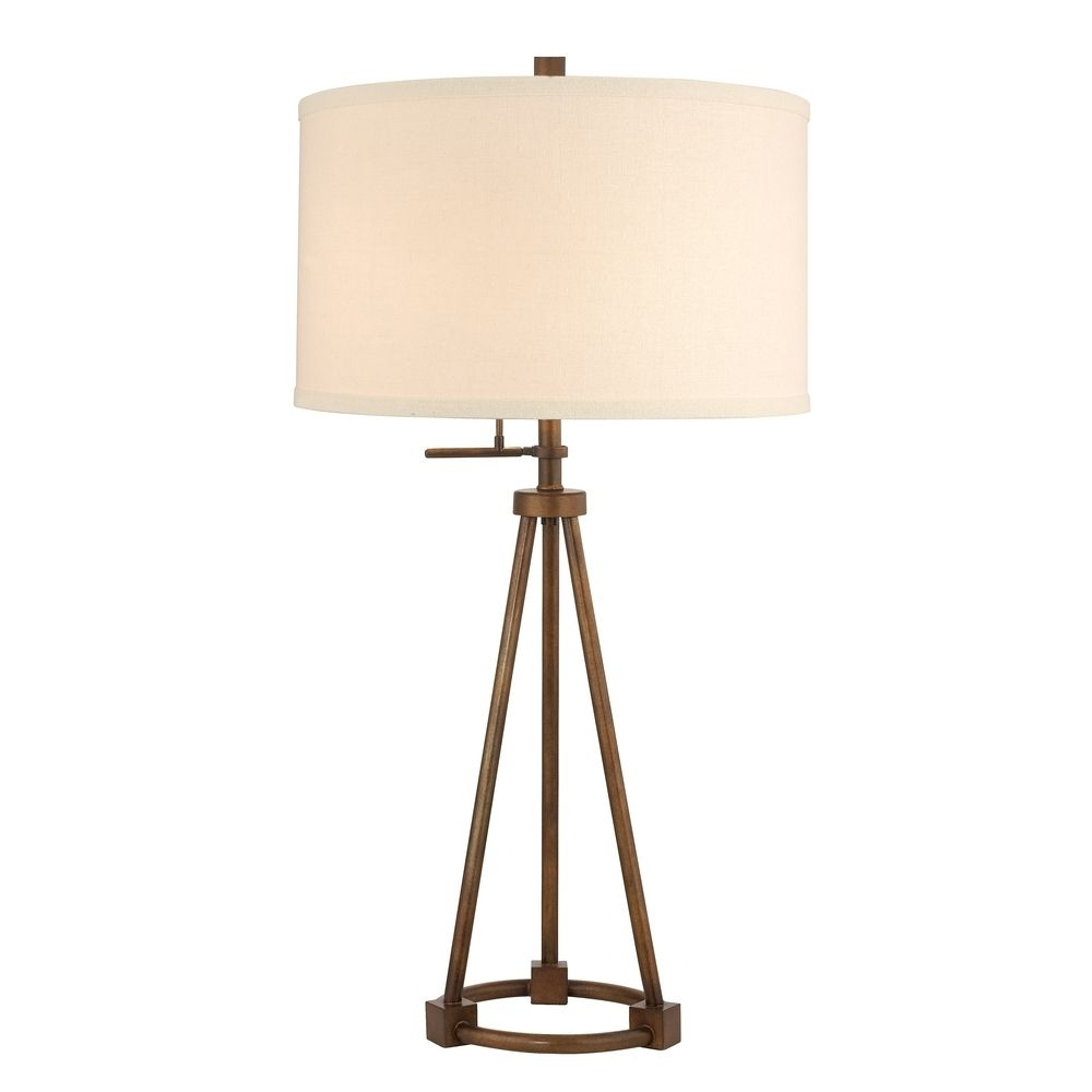 Tripod Table Lamp In Bronze Finish With Cream Drum Shade (View 2 of 15)