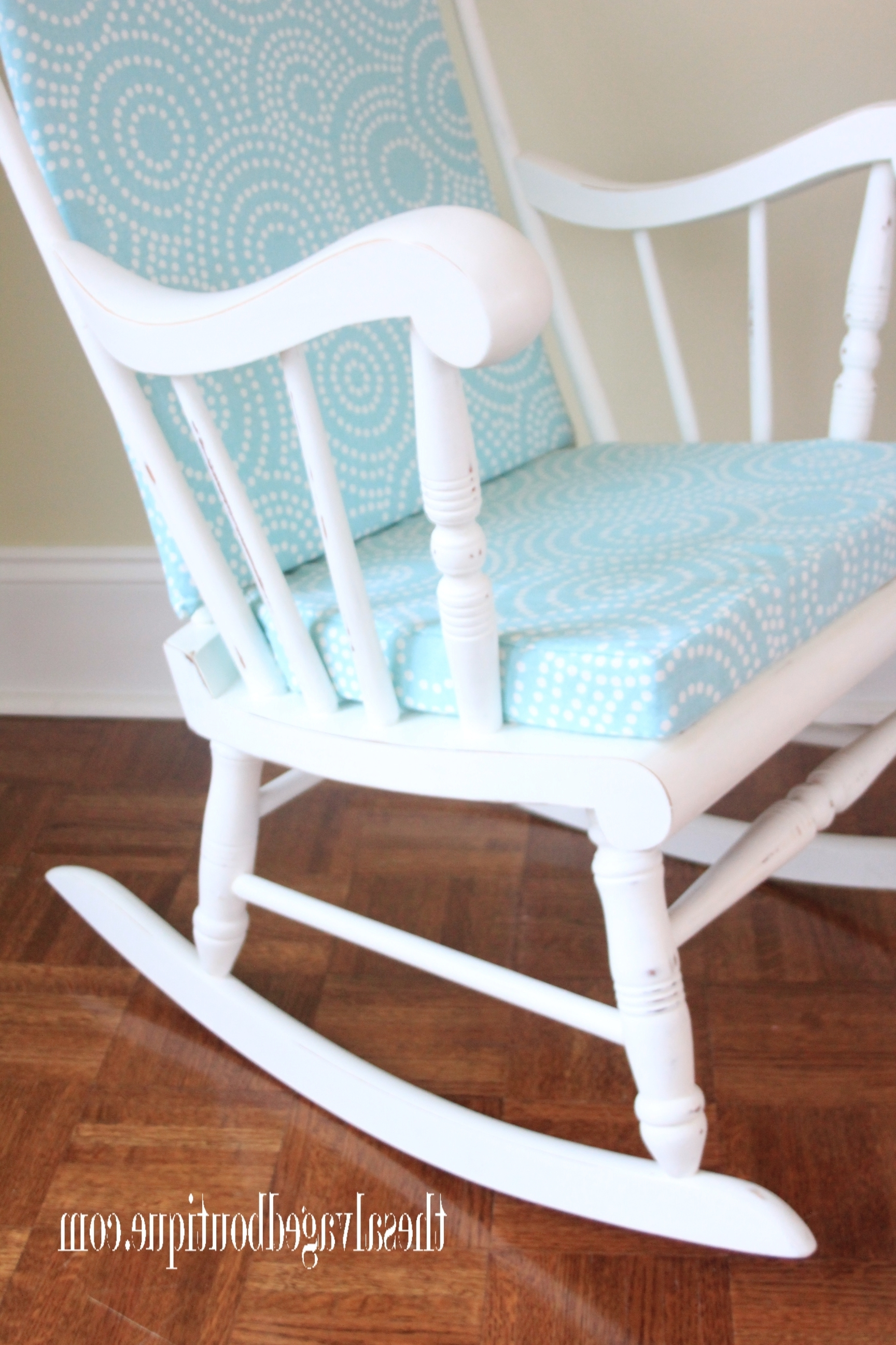 Upcycled Rocking Chairs For 2017 Grandpa's Rocking Chair Brightened Up For New Baby Nursery (View 3 of 15)