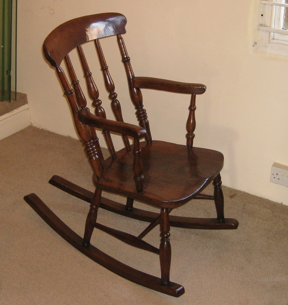 Victorian Elm And Beech Rocking Chair Intended For Current Antique Rocking Chairs (View 5 of 15)
