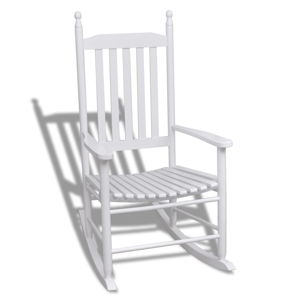 Vidaxl Wood Rocking Chair White Curved Seat In Garden Chairs From Intended For Famous Xl Rocking Chairs (View 13 of 15)