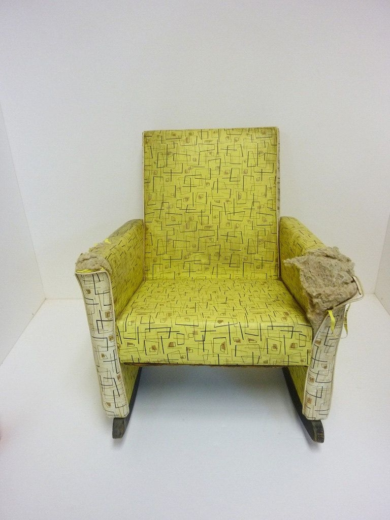 Vintage Child Rocking Chair Vinyl Covering 1950S. $ (View 14 of 15)