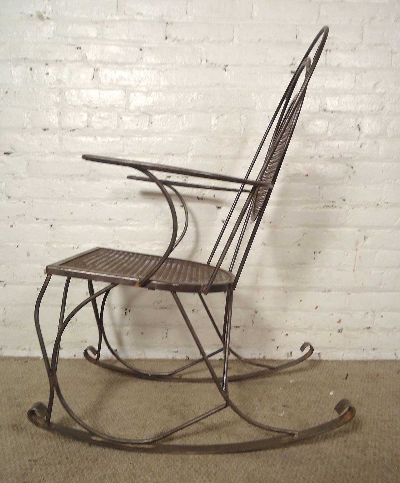 Vintage Metal Outdoor Rocking Chairs Outdoor Designs Design Of in Trendy Wrought Iron Patio Rocking Chairs