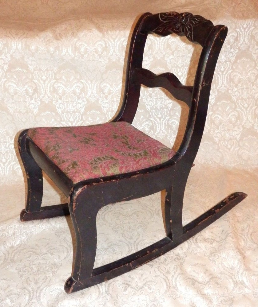 Vintage Tell City Mahogany Duncan Phyfe Carved Rose Childs Rocker Regarding Fashionable Rocking Chairs At Roses (Gallery 5 of 15)