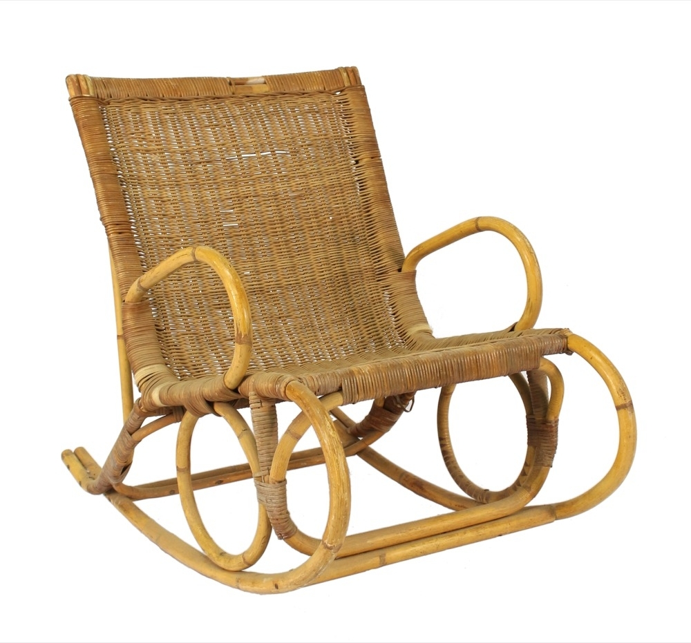 Vintage Wicker Rocking Chairs Throughout Most Up To Date A Vintage Bamboo And Wicker Rocking Chair, 20Th Century – Omni Fine (View 8 of 15)