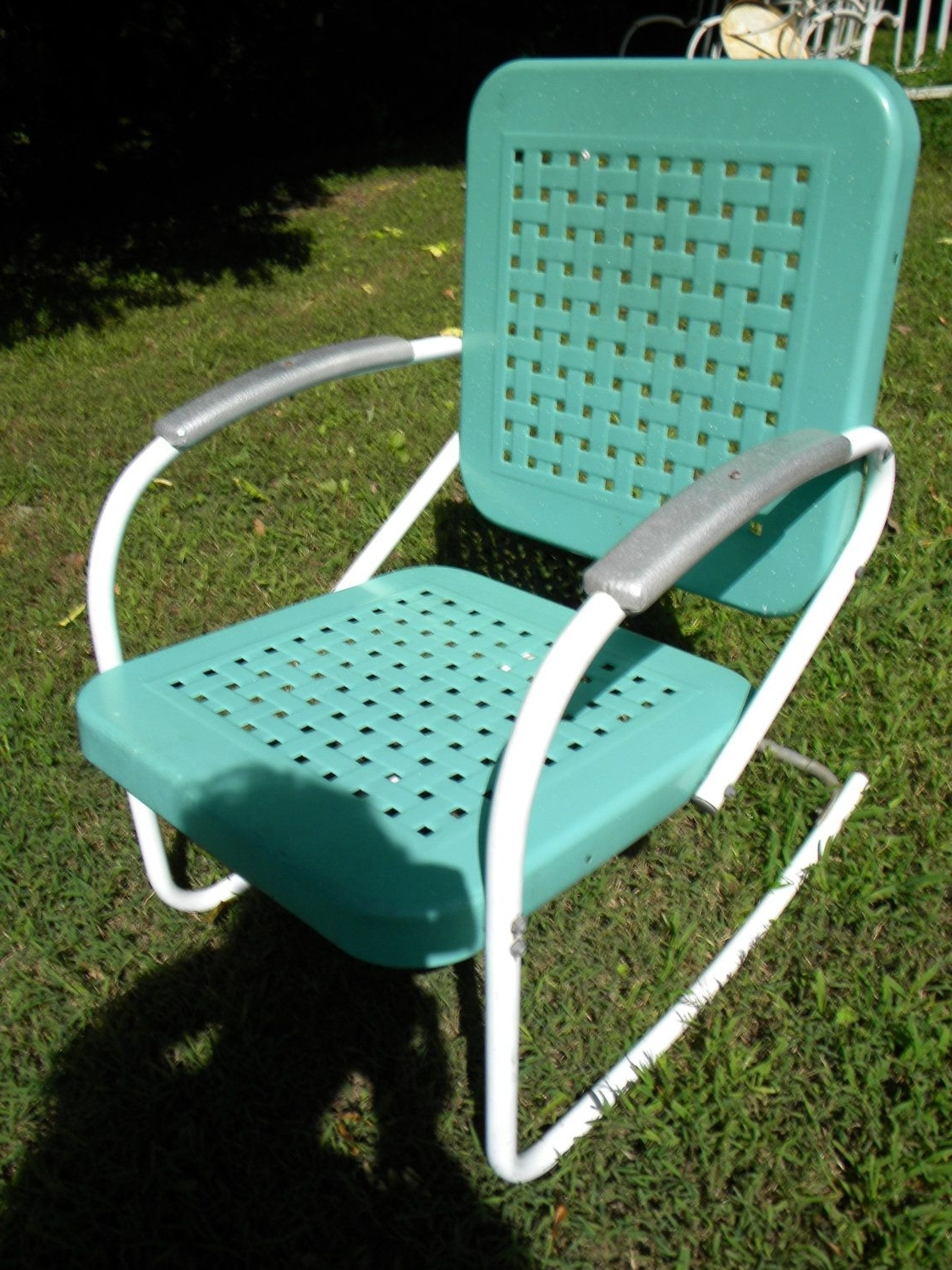 Vtg 50S 60S Retro Outdoor Metal Lawn Patio Porch Rocking Chair Inside Preferred Vintage Metal Rocking Patio Chairs (View 15 of 15)