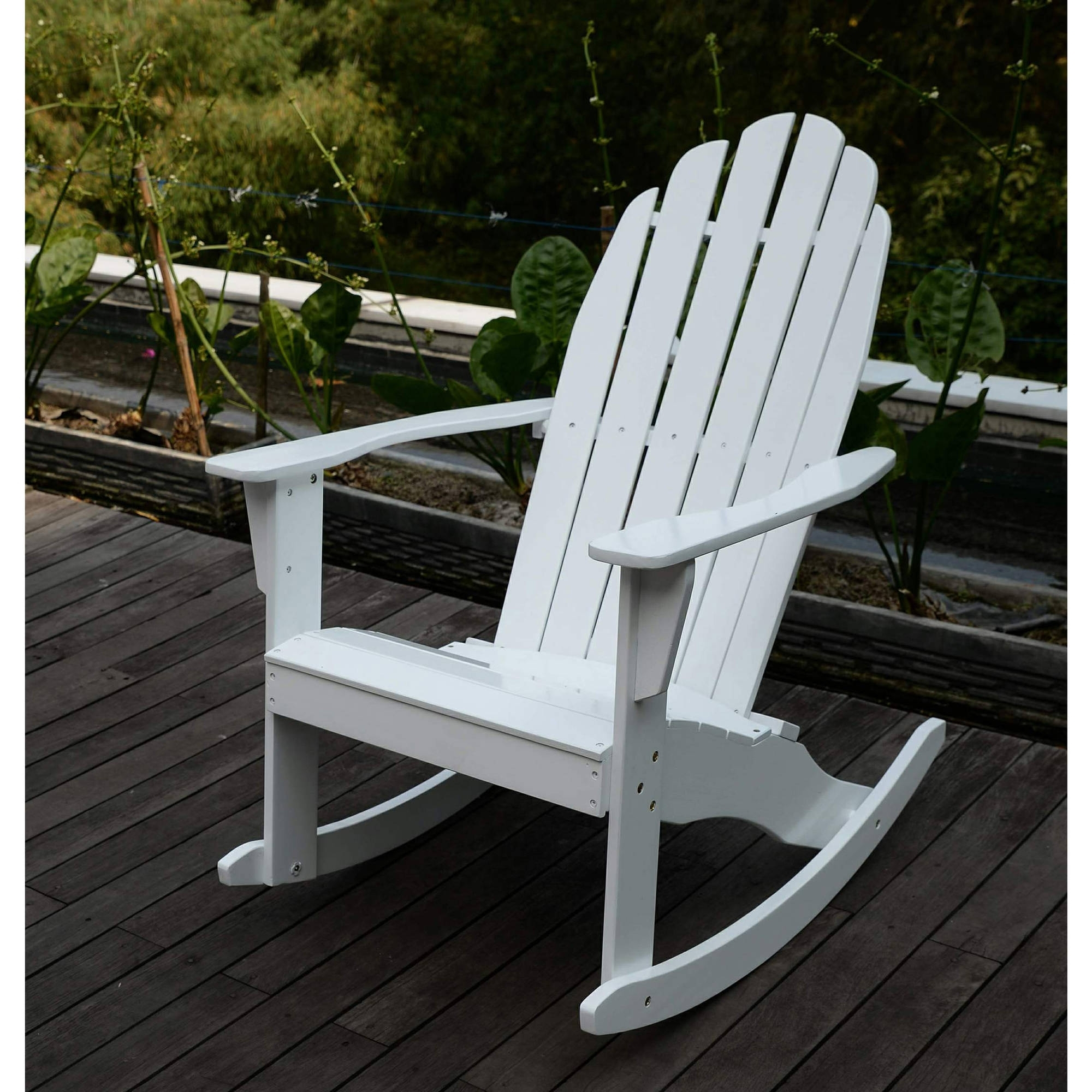 Walmart Rocking Chairs Intended For Well Known Adirondack Rocking Chair, White – Walmart (View 11 of 15)
