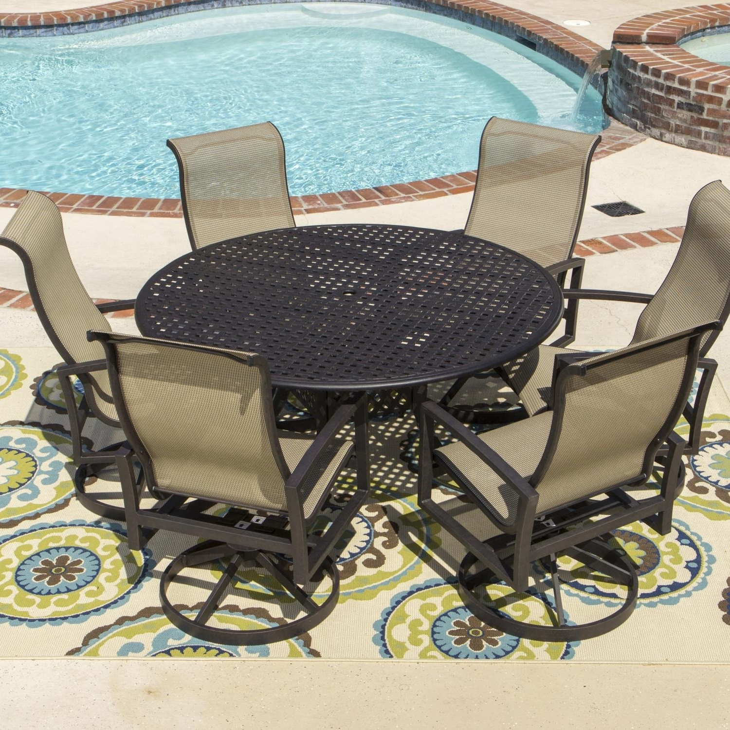 Well Known Acadia 7 Piece Sling Patio Dining Set With Swivel Rockers And Round Throughout Sling Patio Conversation Sets (View 9 of 15)