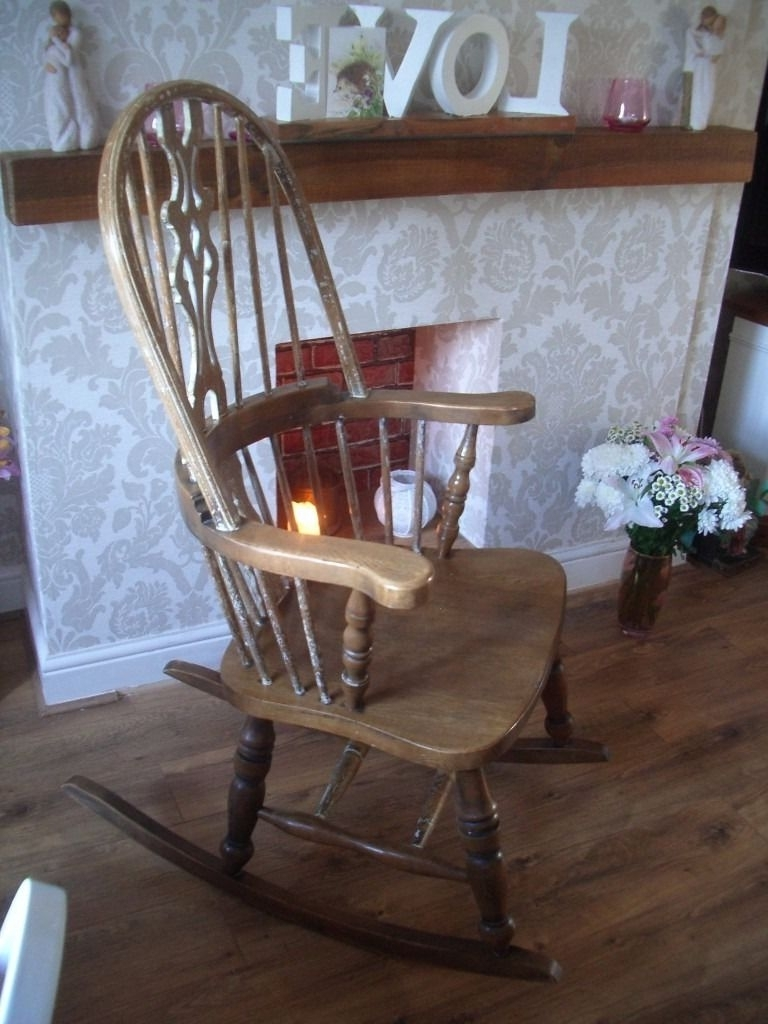 "Well Known Antique Hand Carved Solid Oak ""windsor"" Rocking Chair Extremely Pertaining To Rocking Chairs At Gumtree (View 15 of 15)"