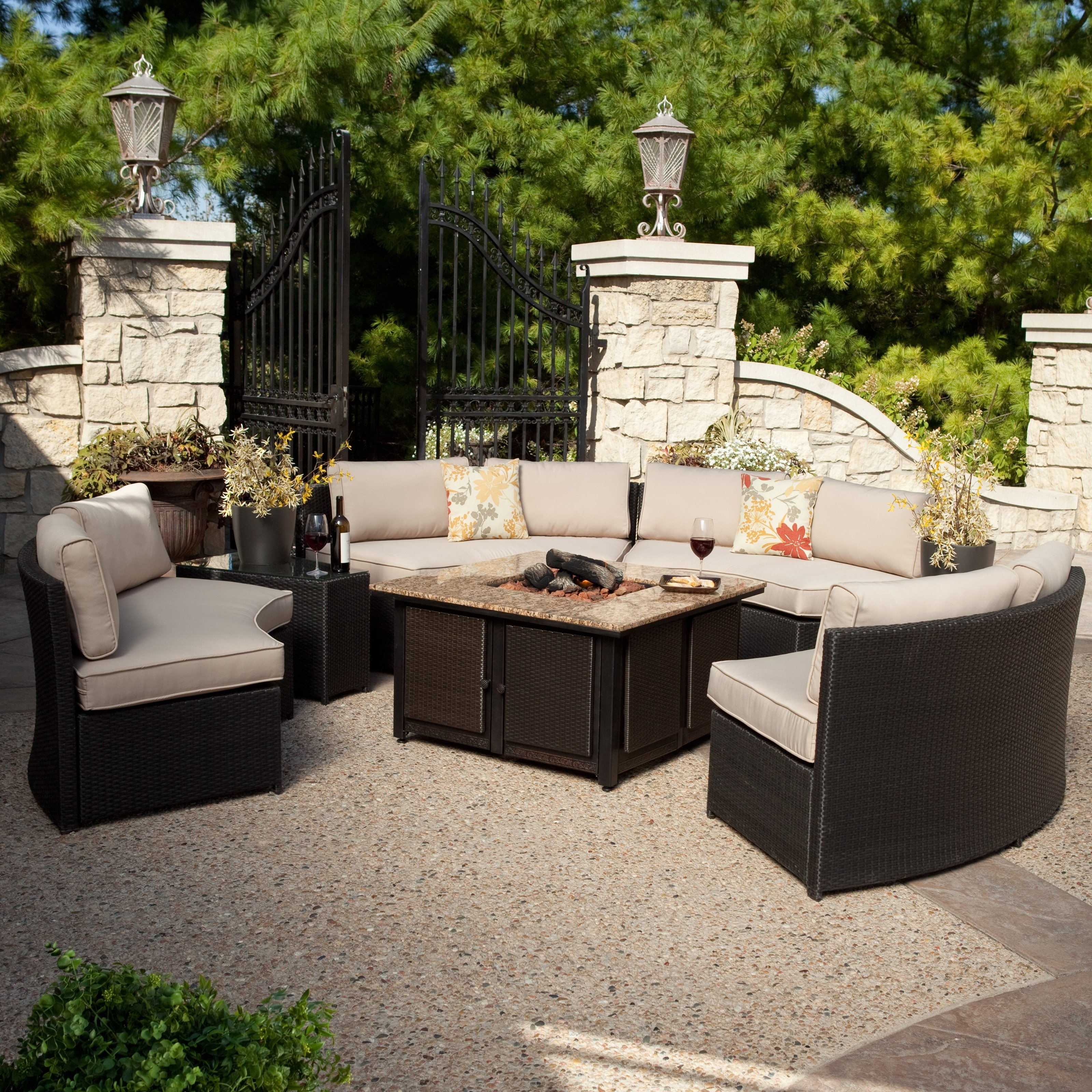 Well Known Beautiful Fire Pit Conversation Sets Patio Tall Stone Seating Around For Patio Conversation Sets With Fire Table (View 2 of 15)