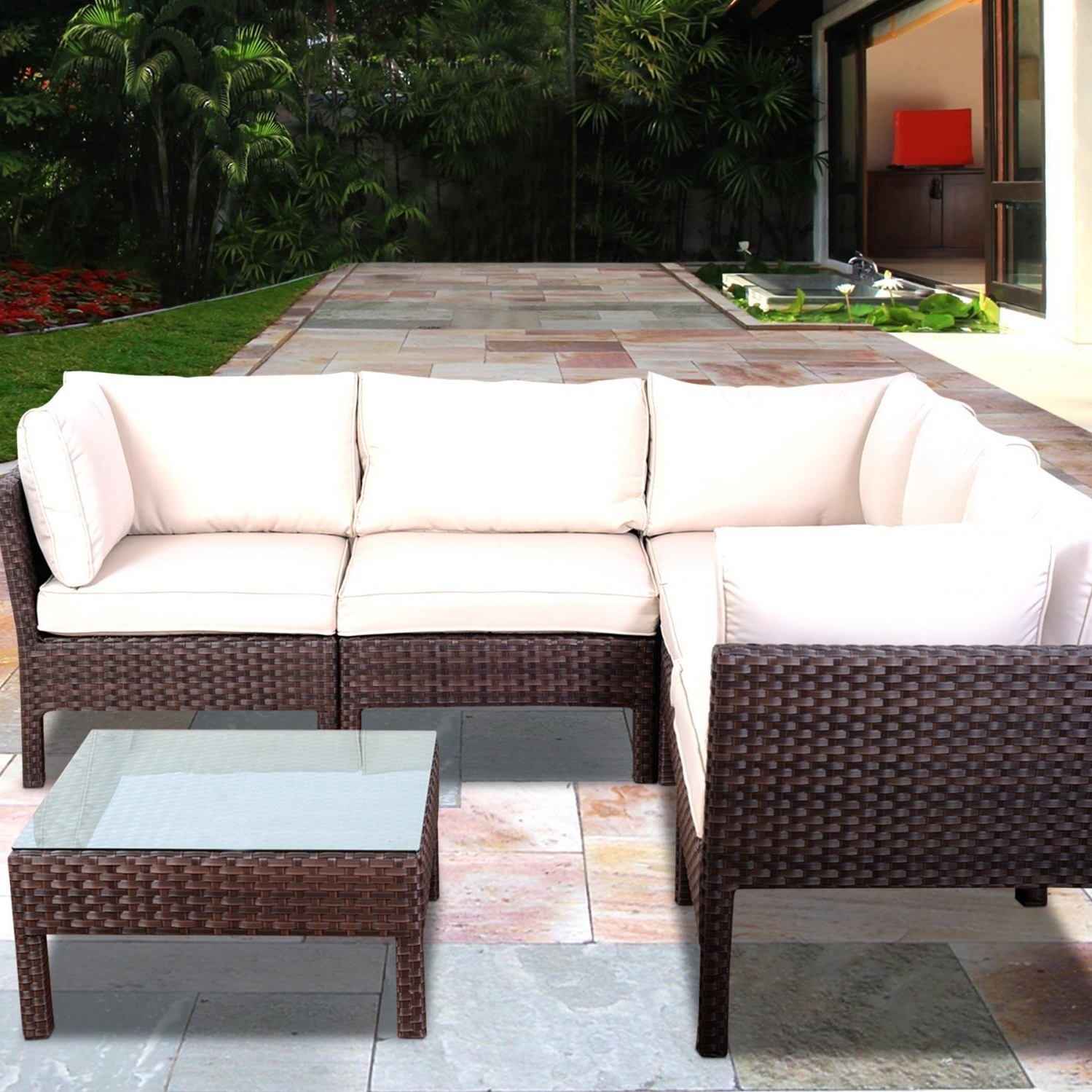Well Known Conversation Patio Sets With Outdoor Sectionals Regarding Atlantic Infinity 5 Person Resin Wicker Patio Sectional Set (View 11 of 15)