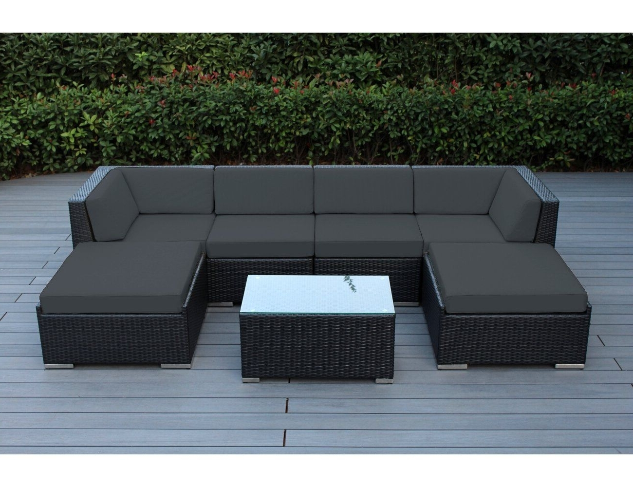 Well Known Conversation Patio Sets With Outdoor Sectionals Within Ohana 7 Piece Outdoor Patio Furniture Sectional Conversation Set (View 14 of 15)