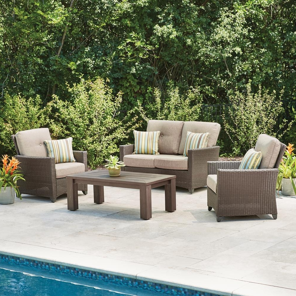 Well Known Deep Seating Patio Conversation Sets Within Hampton Bay Tacana 4 Piece Wicker Patio Deep Seating Set With Beige (View 6 of 15)