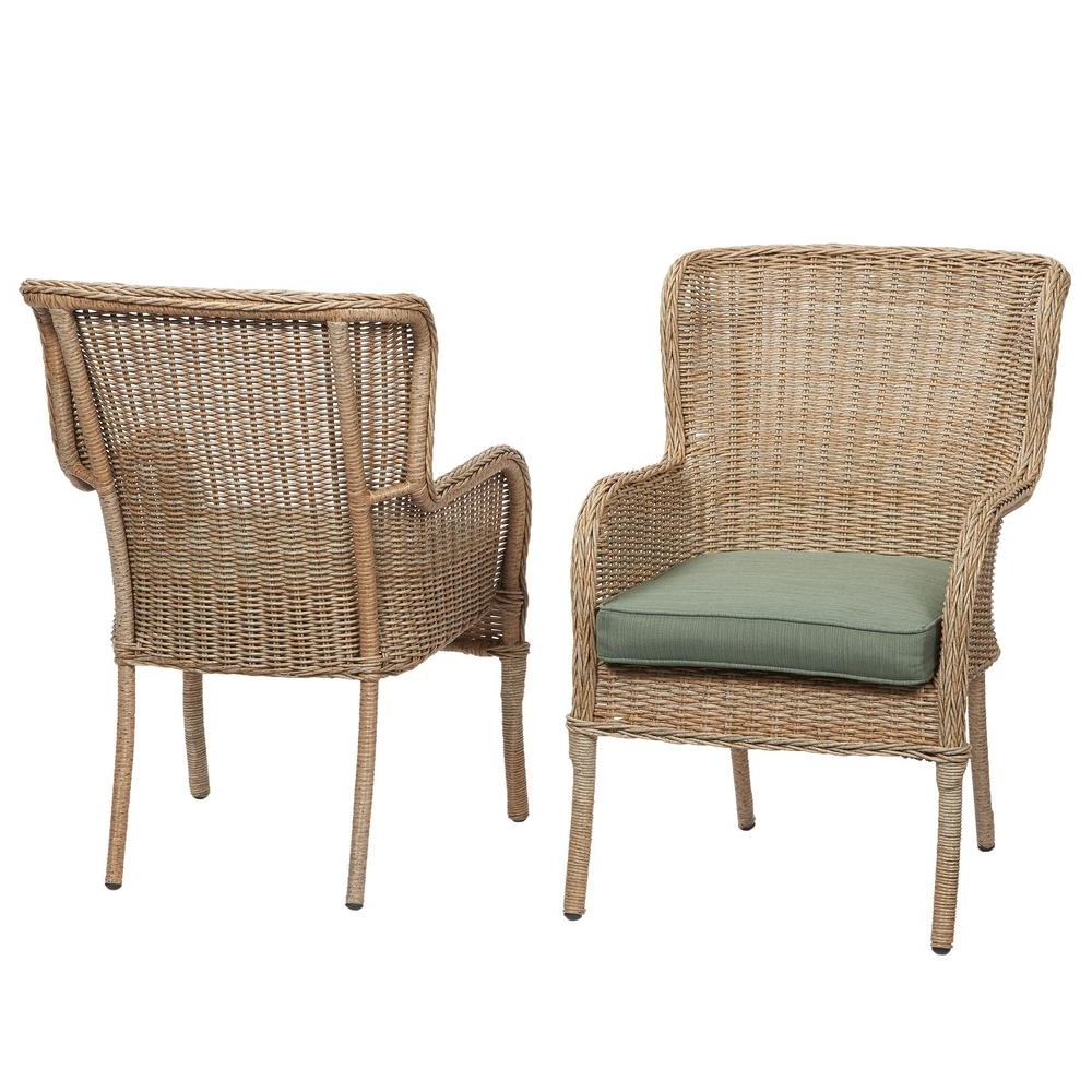 Well Known Hampton Bay Rocking Patio Chairs Intended For Hampton Bay Lemon Grove Stationary Wicker Outdoor Dining Patio (View 14 of 15)