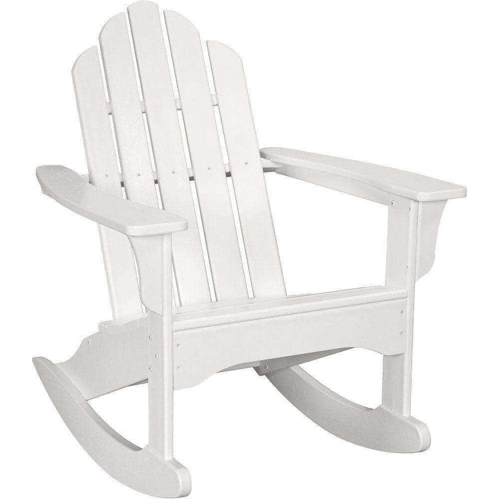 Well Known Hanover White All Weather Adirondack Rocking Patio Chair Hvlnr10Wh Throughout Rocking Chairs At Home Depot (View 15 of 15)