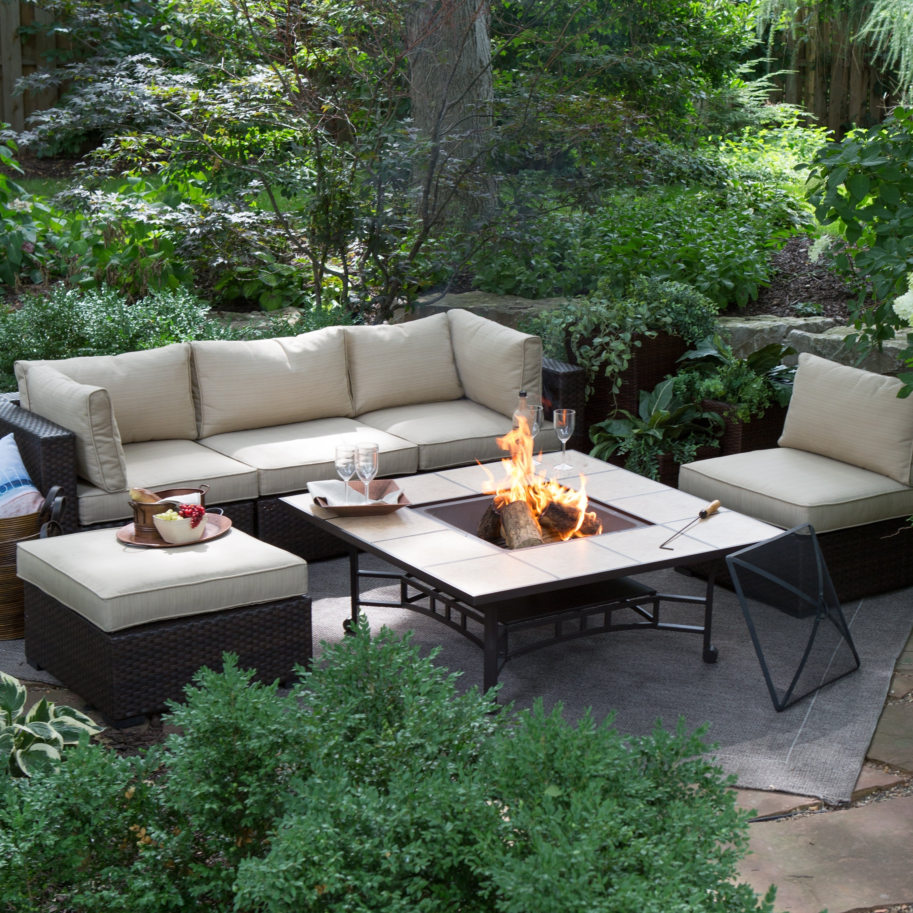 Well Known Hayneedle Patio Conversation Sets In Belham Living Marcella All Weather Wicker 50 In (View 2 of 15)