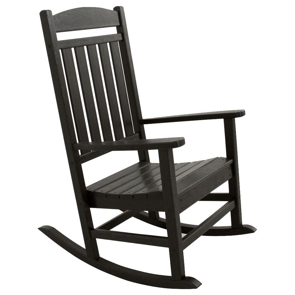 Well Known Ivy Terrace Classics Black Patio Rocker Ivr100Bl – The Home Depot Intended For Black Patio Rocking Chairs (View 15 of 15)