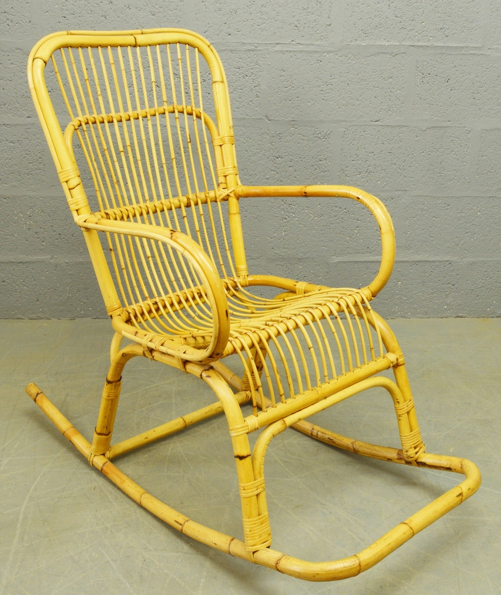 Well Known Mid Century Bamboo And Rattan Rocking Chair – 1960S – Design Market For Wicker Rocking Chair With Magazine Holder (View 10 of 15)