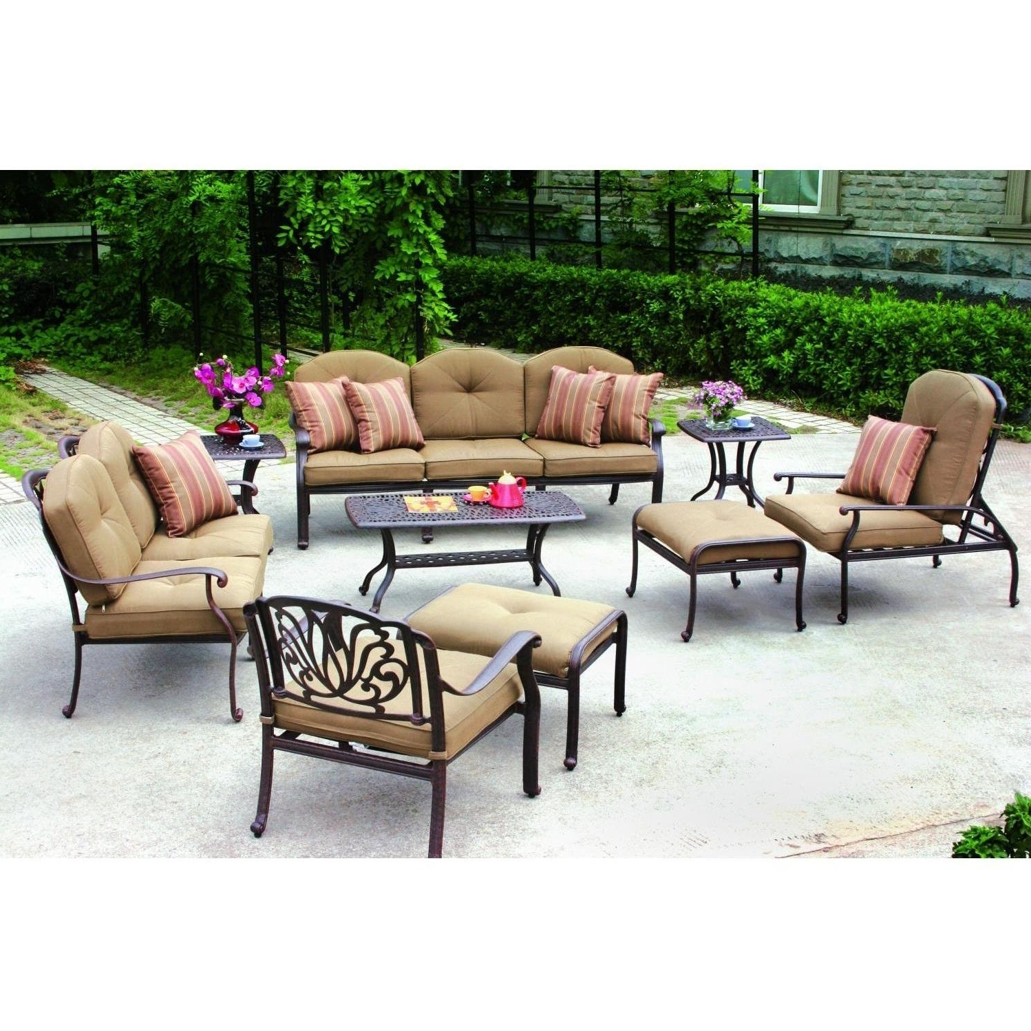 Well Known Outdoor : Best Deals On Patio Furniture Outdoor Wood Dining Table Regarding Black Aluminum Patio Conversation Sets (View 13 of 15)