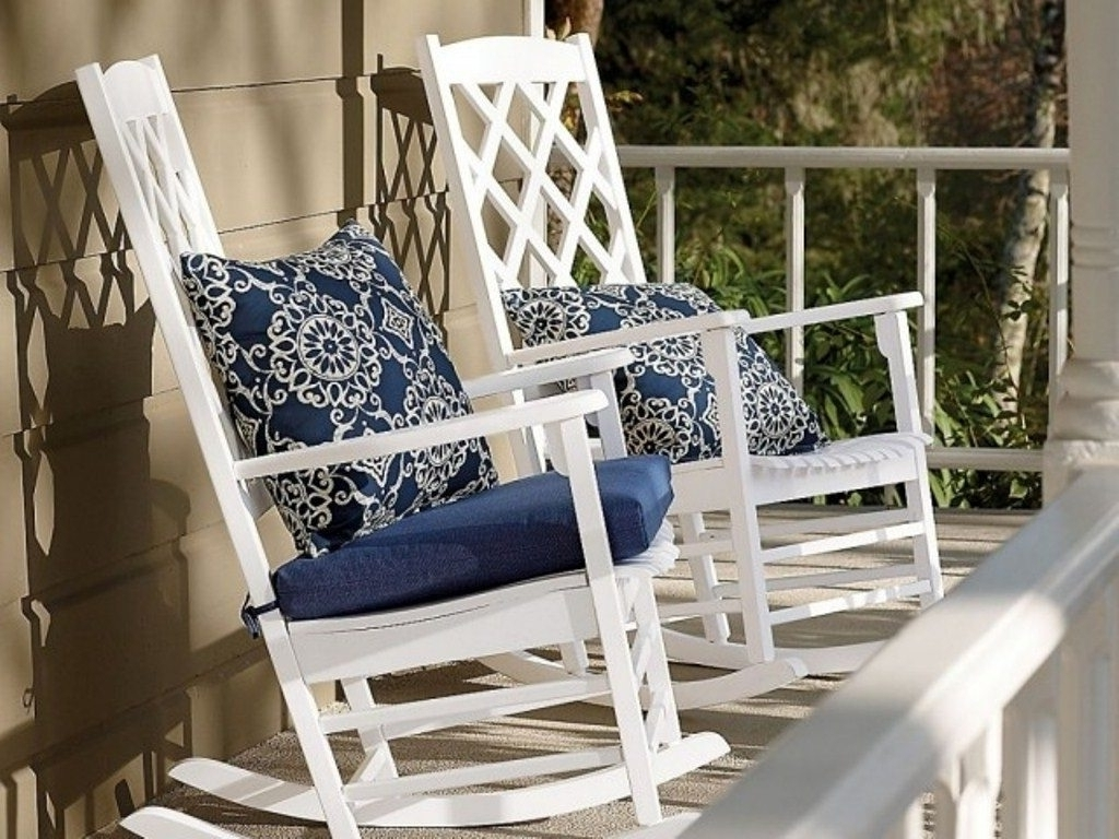 Well Known Outdoor Rocking Chair Cushions Blue : Beautiful Outdoor Rocking Intended For Outdoor Rocking Chairs With Cushions (View 13 of 15)