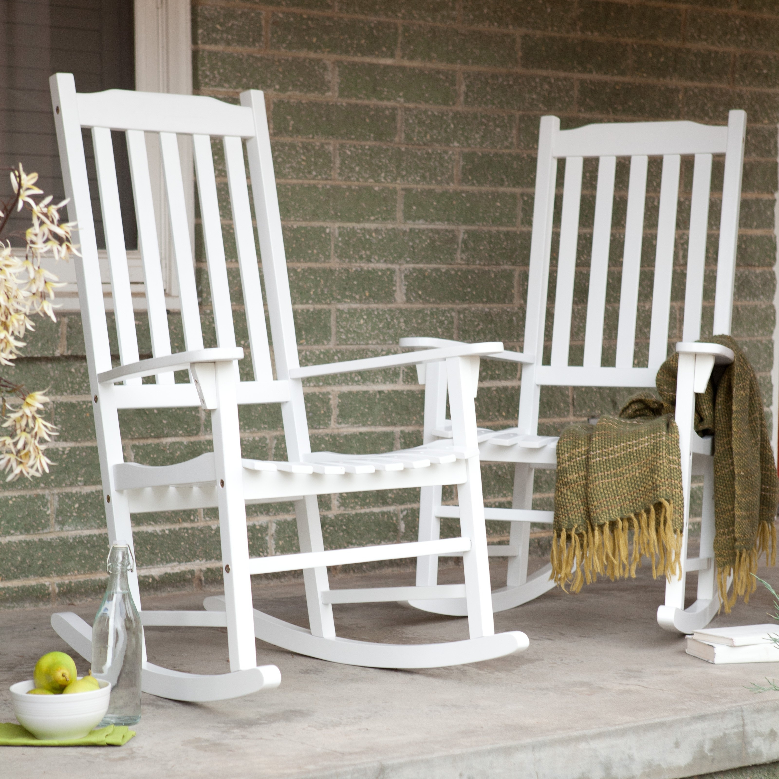 Well Known Outside Rocking Chair Sets Pertaining To Coral Coast Indoor/outdoor Mission Slat Rocking Chairs – White – Set (View 11 of 15)