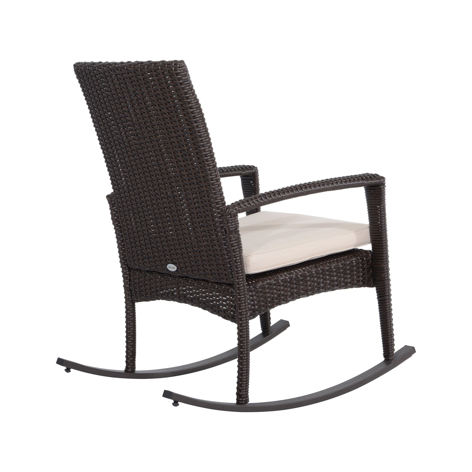 Well Known Outsunny 3 Pieces Rocking Chair Table Set Garden Wicker Furniture 2 Within Rocking Chairs For Garden (View 15 of 15)