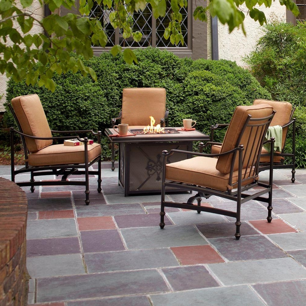 Well Known Patio Conversation Sets With Gas Fire Pit In Hampton Bay Niles Park 5 Piece Gas Fire Pit Patio Seating Set With (View 9 of 15)