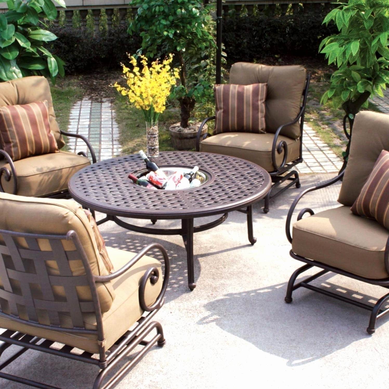 Well Known Patio Conversation Sets With Swivel Chairs With Patio Furniture Lowes Home Depot Patio Furniture Lowes Outdoor (View 13 of 15)