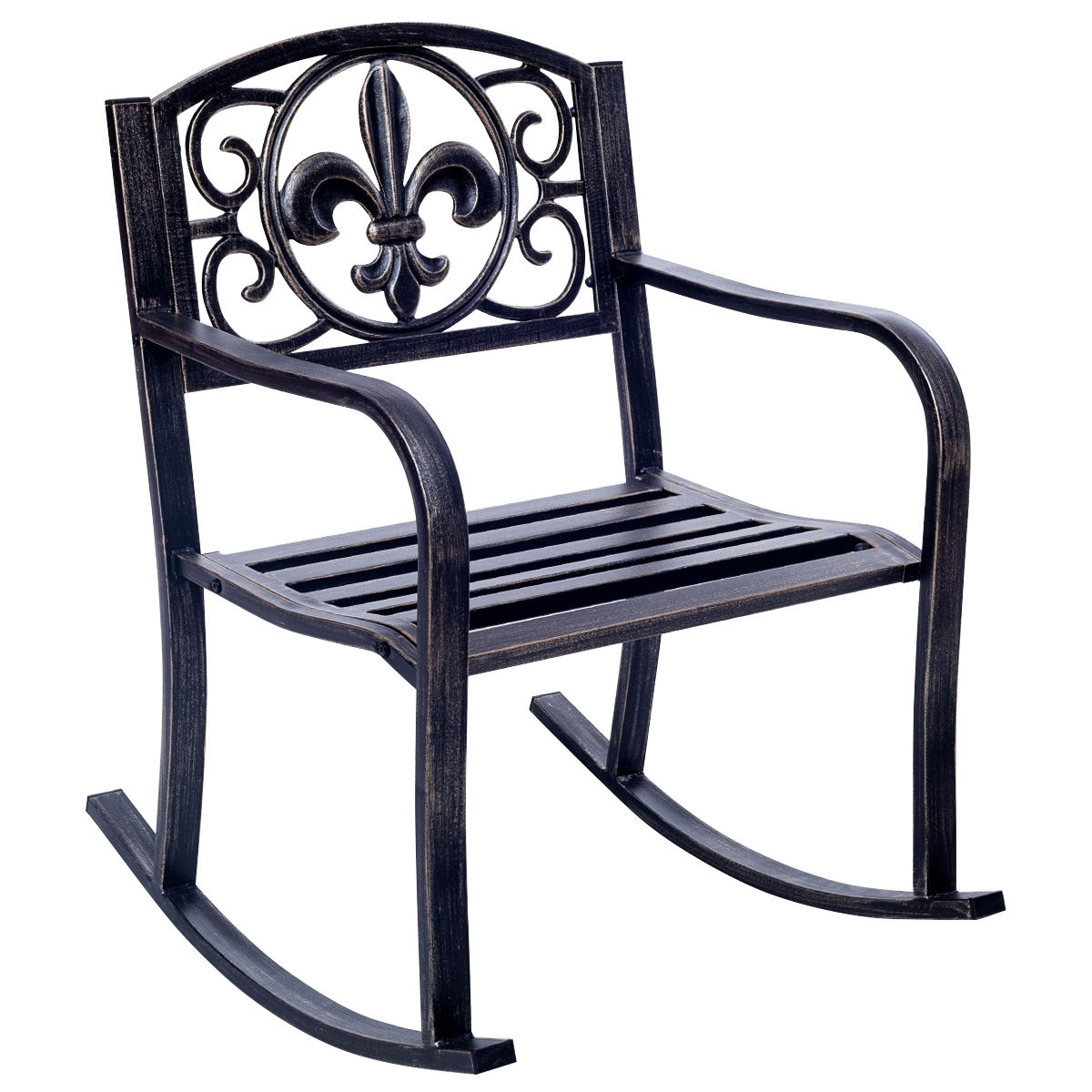 Well Known Patio Metal Rocking Chairs Within Costway: Costway Patio Metal Rocking Chair Porch Seat Deck Outdoor (View 11 of 15)