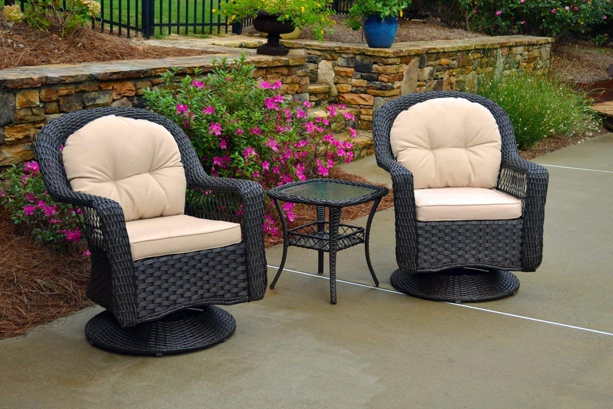 Well Known Patio Rocking Chairs And Table In Amazon: Tortuga Outdoor Biloxi 3 Piece Swivel Patio Bistro Table (View 13 of 15)
