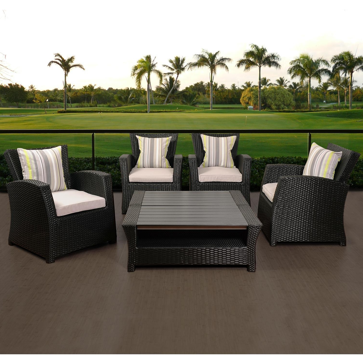 Well Known Resin Wicker Patio Conversation Sets Pertaining To Atlantic Staffordshire 4 Person Resin Wicker Patio Conversation Set – Black (View 14 of 15)