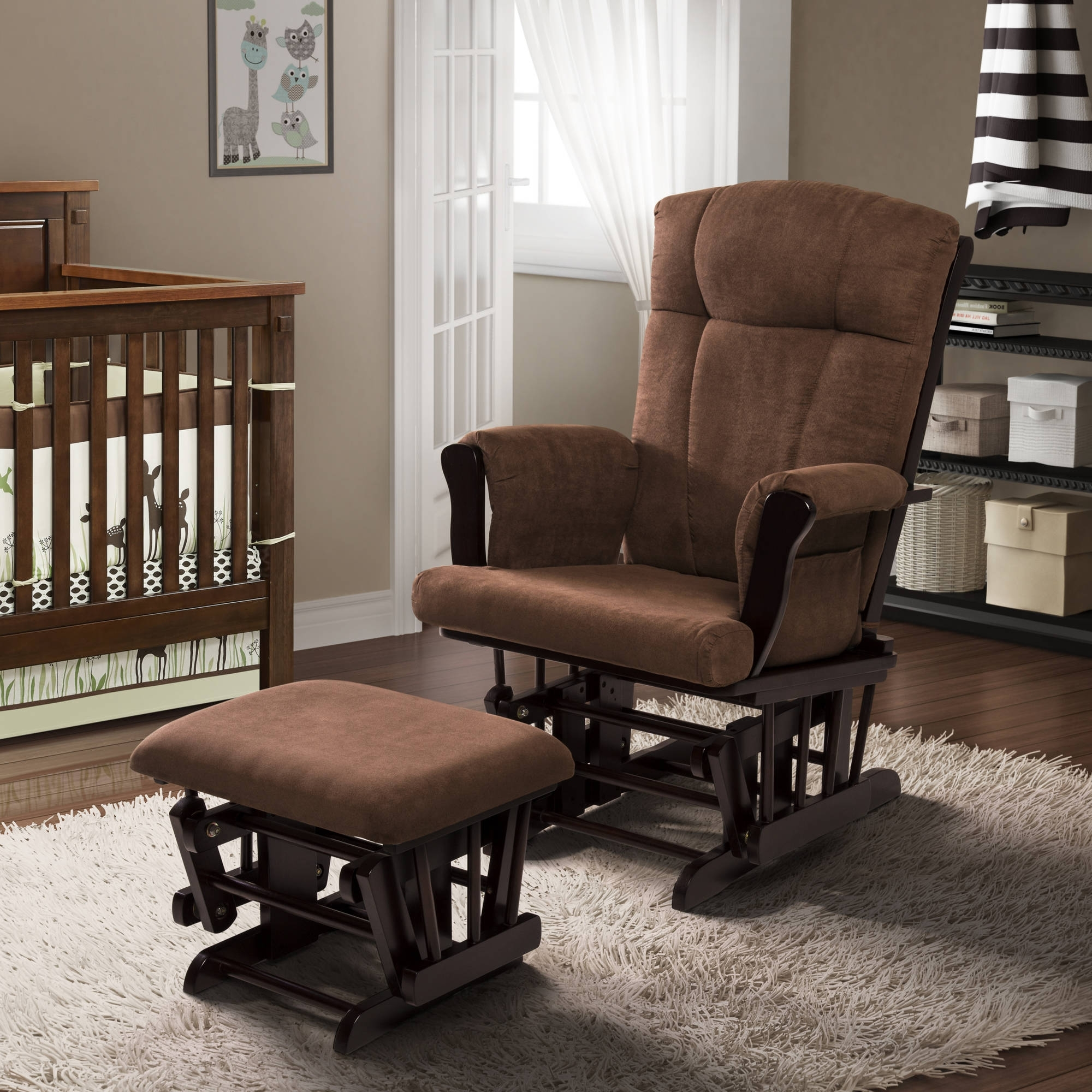 Well Known Rocking Chairs At Walmart Pertaining To Baby Relax Glider Rocker And Ottoman Espresso With Chocolate (View 9 of 15)