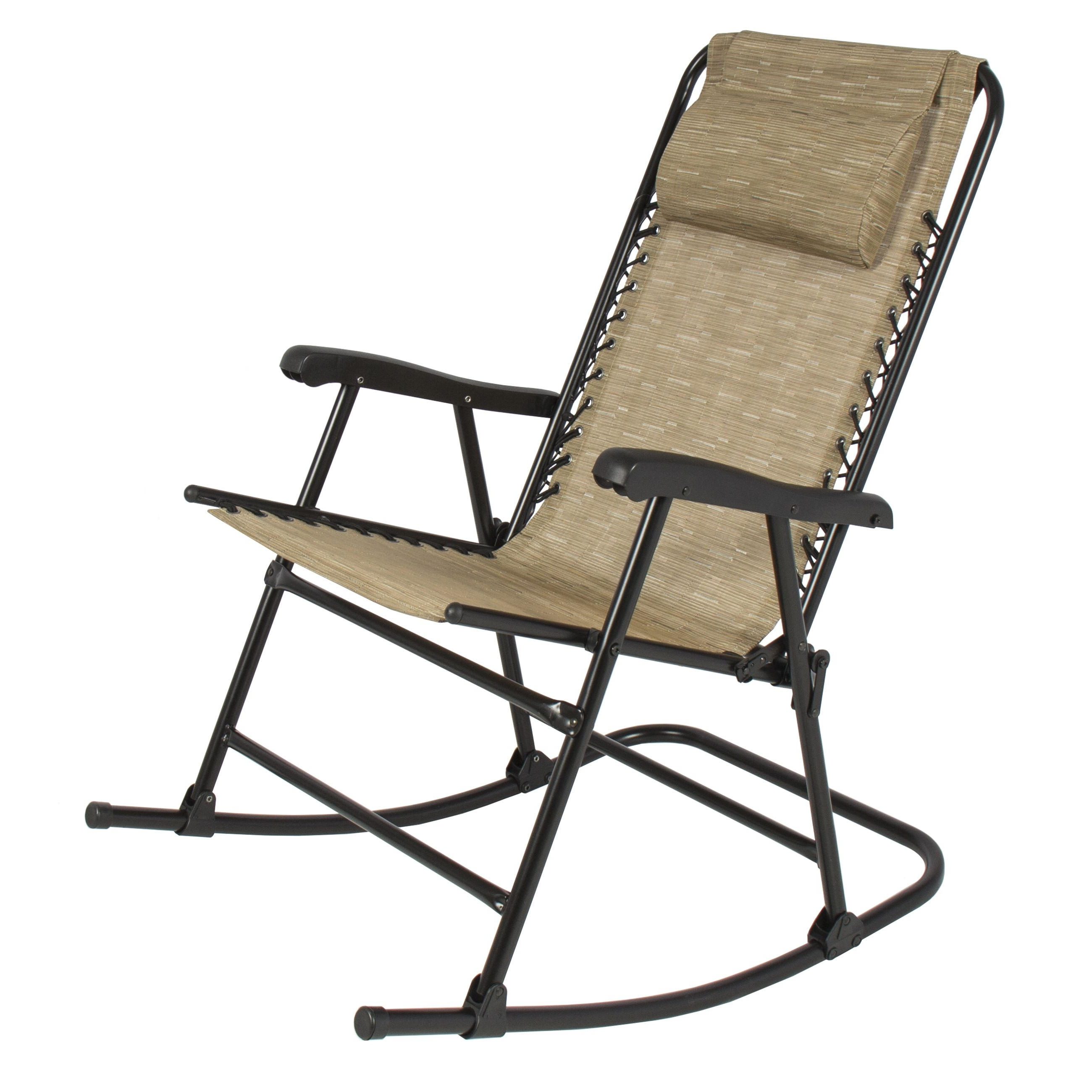 Well Known Rocking Chairs For Patio In Folding Rocking Chair Foldable Rocker Outdoor Patio Furniture Beige (View 5 of 15)
