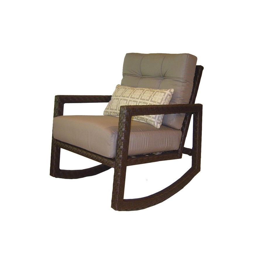 Well Known Shop Allen + Roth Lawley Textured Black Steel Cushioned Patio Throughout Rocking Chairs At Lowes (View 15 of 15)