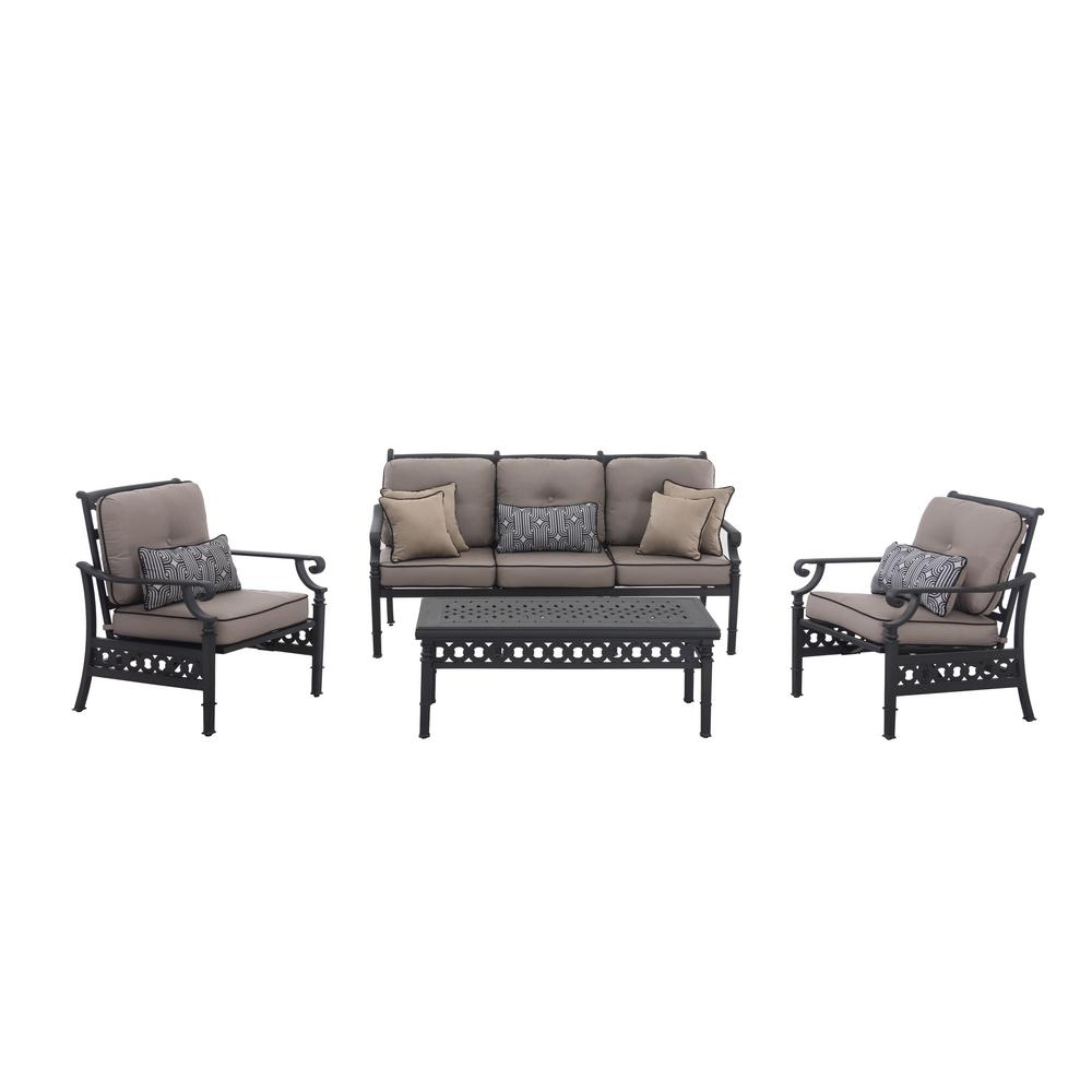 Well Known Sunjoy Catelynn 4 Piece Patio Conversation Set With Beige Cushions Intended For Black Patio Conversation Sets (View 2 of 15)