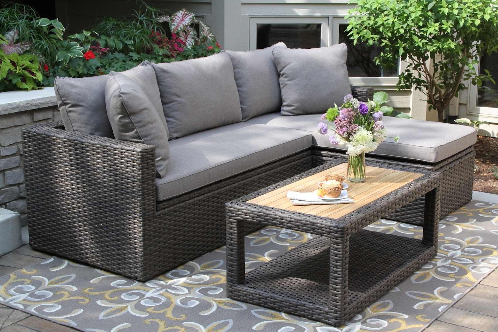 Well Known Teak And Eucalyptus Wood Outdoor Furniture, Torches, Planters Inside Patio Conversation Sets With Storage (View 14 of 15)