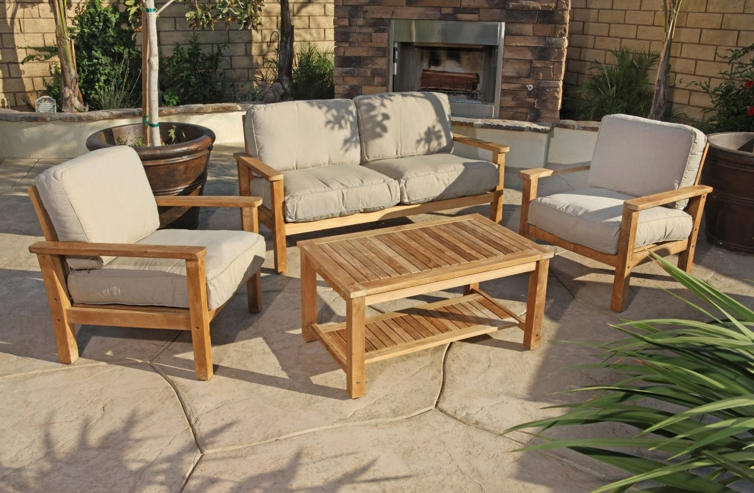 Well Known Teak Patio Conversation Sets For Patio : Teak Patio Conversation Sets Outdoor Lounge Furniture The (View 8 of 15)