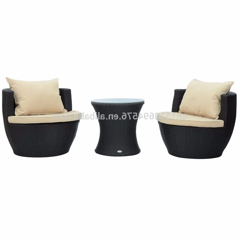 Well Liked 3 Piece Outdoor Stacking Rattan Wicker Patio Chair Set – Buy Garden With Regard To Small Patio Conversation Sets (View 13 of 15)