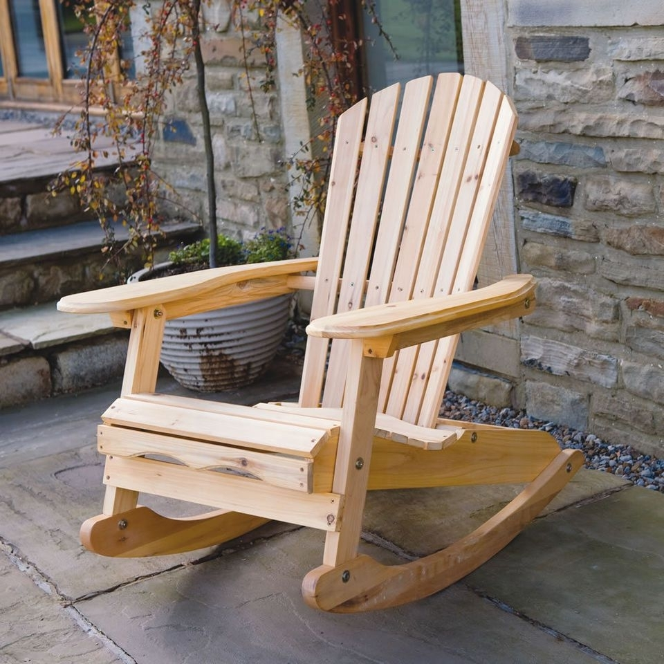 Well-liked Bowland Outdoor Garden Patio Wooden Adirondack Rocker Rocking Chair in Patio Wooden Rocking Chairs