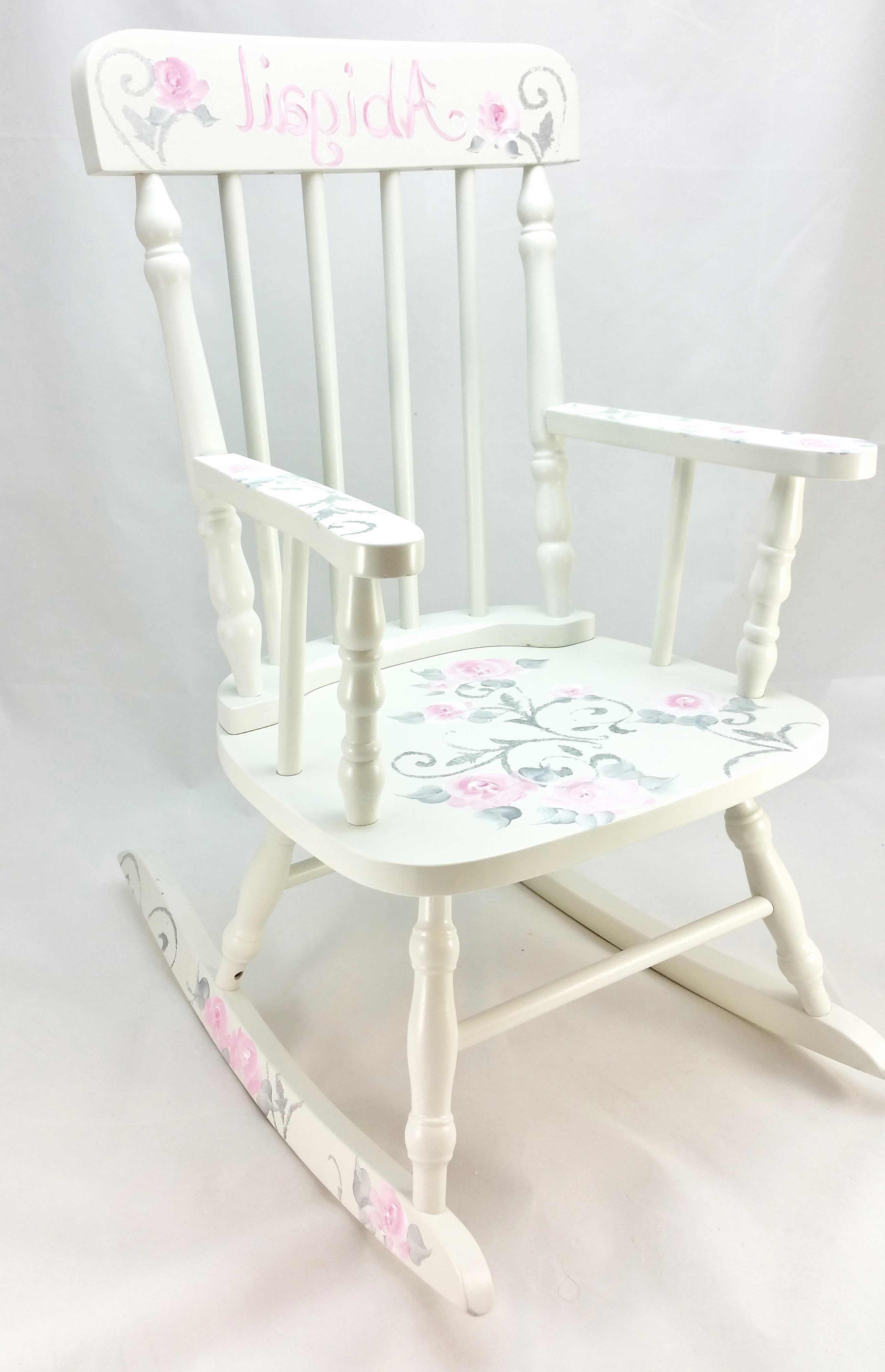 Well Liked Damask And Roses Personalized Rocking Chair – Purple Pumpkin Gifts With Regard To Rocking Chairs At Roses (View 9 of 15)