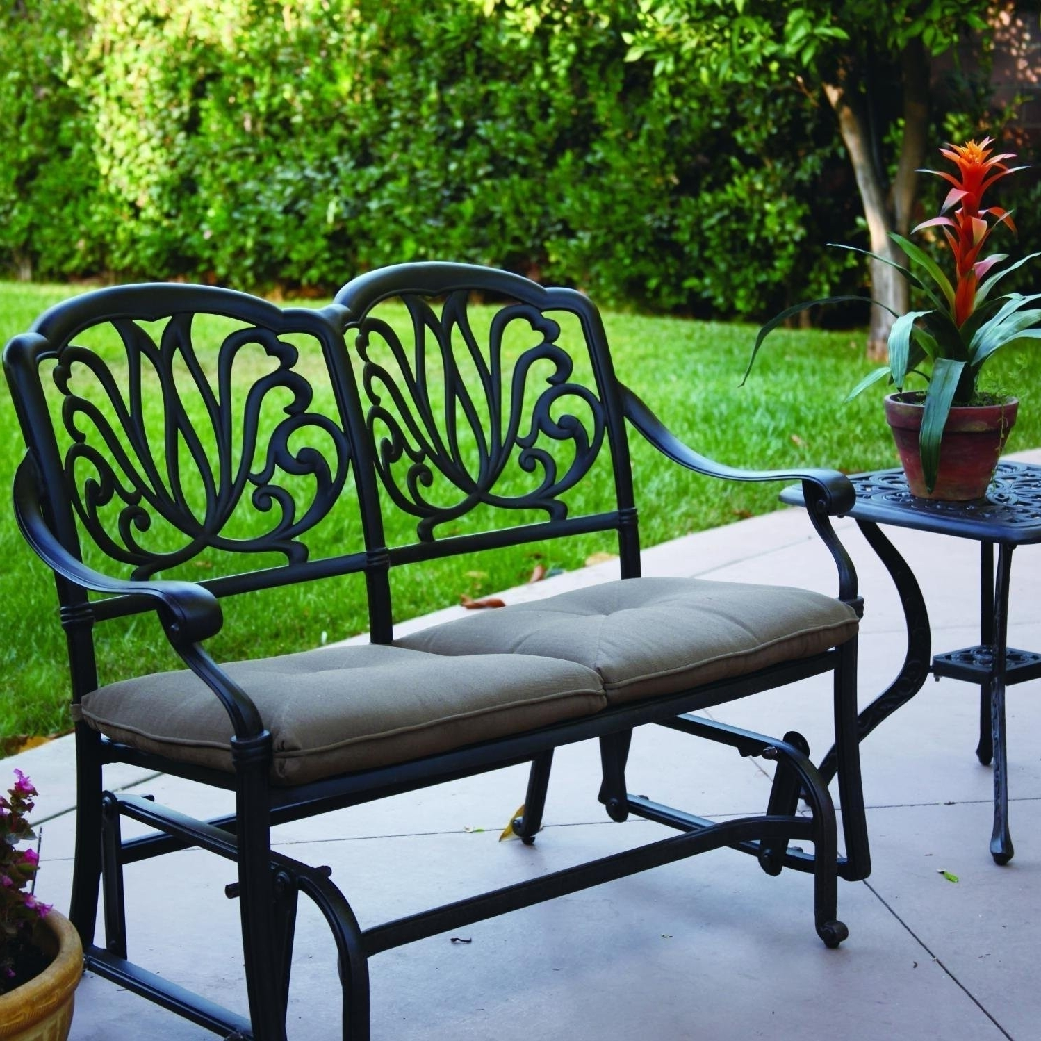 Well Liked Elisabeth 2 Person Cast Aluminum Patio Bench Glider Conversation Set With Regard To Cast Aluminum Patio Conversation Sets (View 15 of 15)