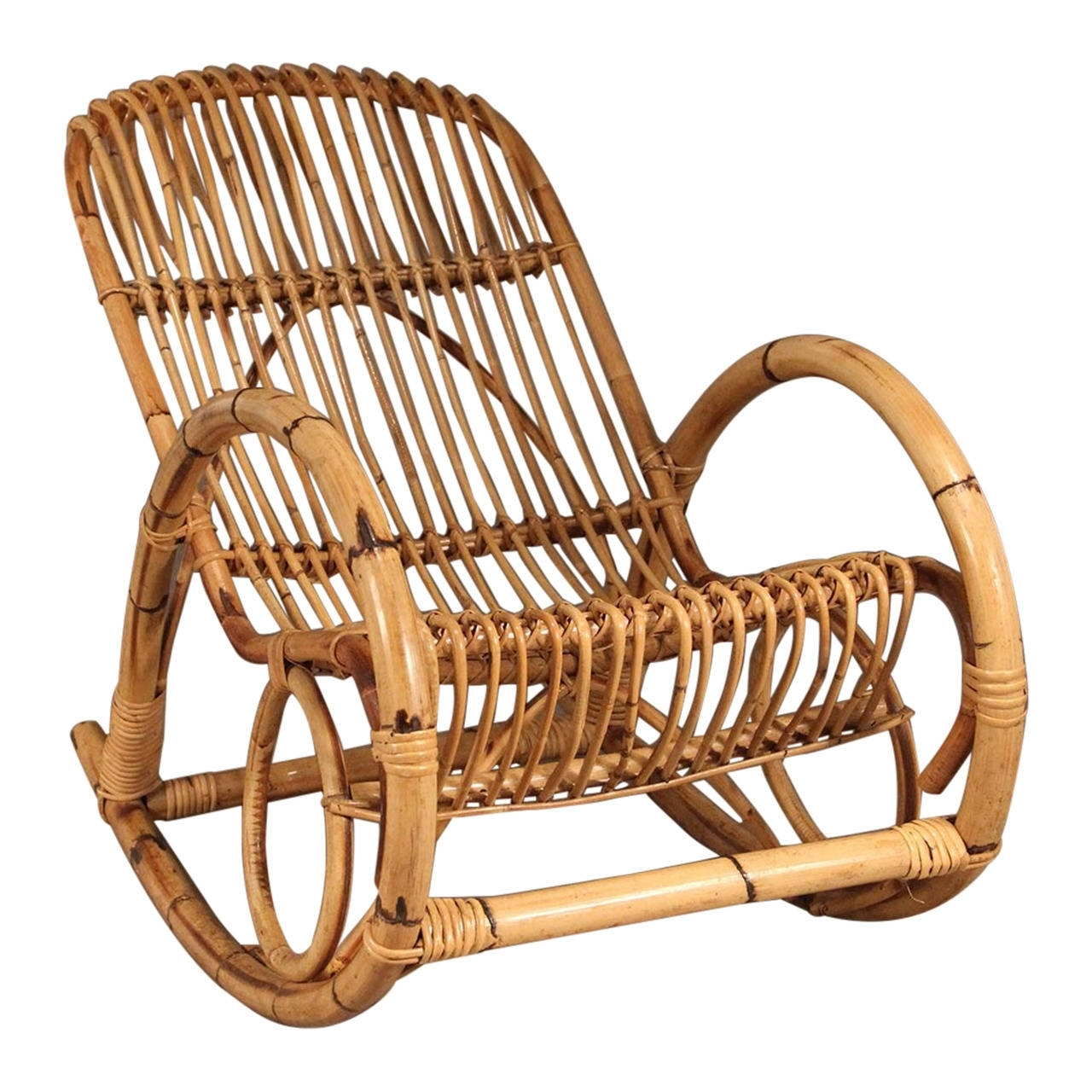 Well Liked Franco Albini Style Mid Century Rattan Rocking Chair Pertaining To Wicker Rocking Chair With Magazine Holder (View 3 of 15)